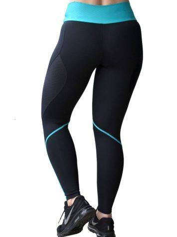 CAJUBRASIL Leggings 8137 Black Teal - Sexy Yoga Leggings Brazilian
