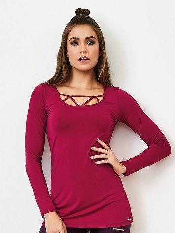CAJUBRASIL Long Sleeve Shirt 9073-Sexy Workout Top-Yoga Top Raspberry