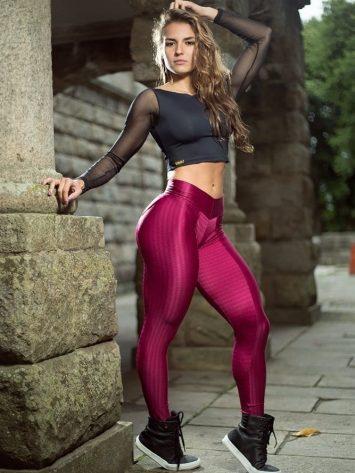 DYNAMITE Brazil Leggings - Scarlet Bordeaux Fitness Leggings L2013 Sexy Workout Leggings