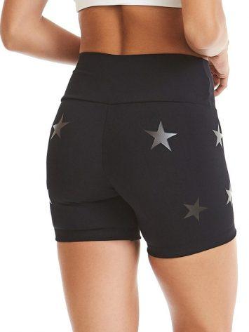 CAJUBRASIL Shorts 9604 Knockout Stars Black – Sexy Yoga Shorts- Brazilian