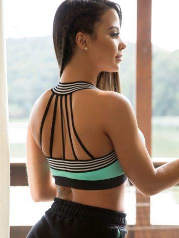 OXYFIT Bra Top Trip 27127 Mint- Sexy Workout Bra – Cute Yoga Top