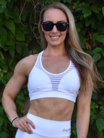 OXYFIT Bra Top Score 27070 Contour White- Sexy Workout Bra – Cute Yoga Top
