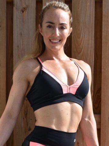 OXYFIT Bra Top Ease 27126 Black Peach- Sexy Workout Bra – Cute Yoga Top