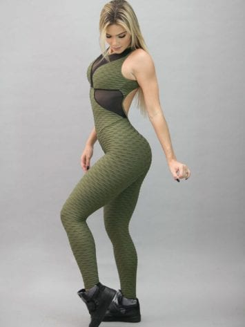 BFB Jumpsuit – Jacquard Green Detail in Tule – One Piece
