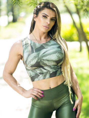 DYNAMITE BRAZIL Crop Tank Top – Green Leaves Blouse