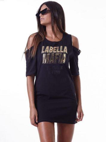 LabellaMafia Dress MVT16182 Dark Metal Striped Dress