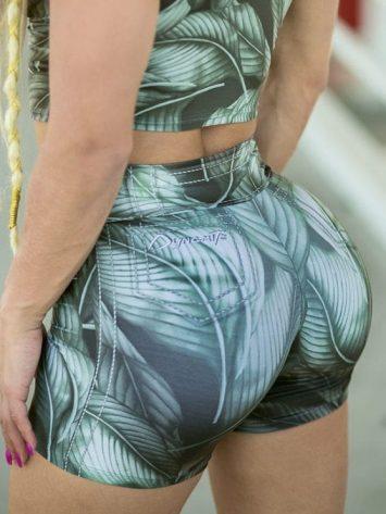 DYNAMITE BRAZIL Shorts SH400 Green Leaves-Sexy Workout Shorts