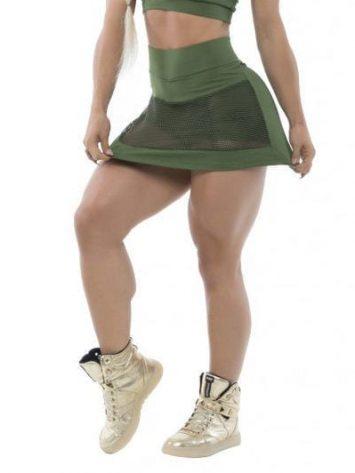 BFB Activewear Skort & Sports Bra Top Set Mesh front – Green