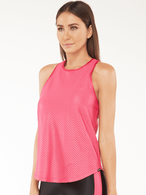 Koral Aerate Shiny Netz Tank Top – Rosa