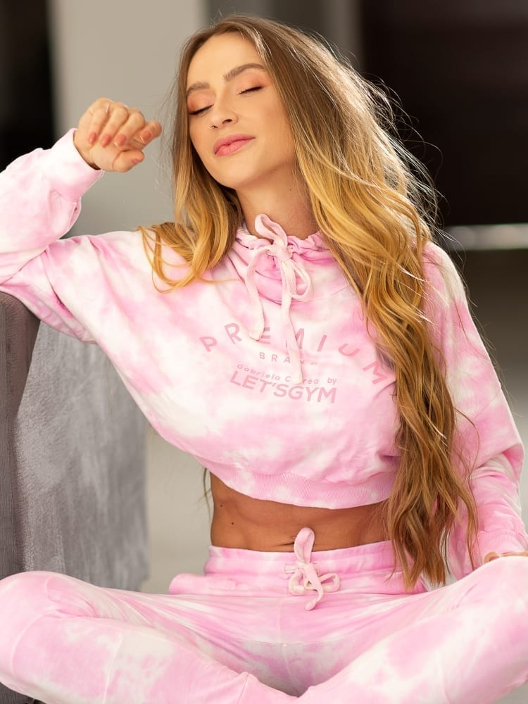 Let's Gym Cropped Tie Dye Top – Pink