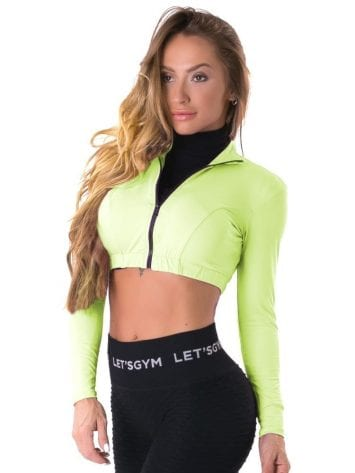 Let's Gym Fitness Cropped Style Trend Top – Neon Green