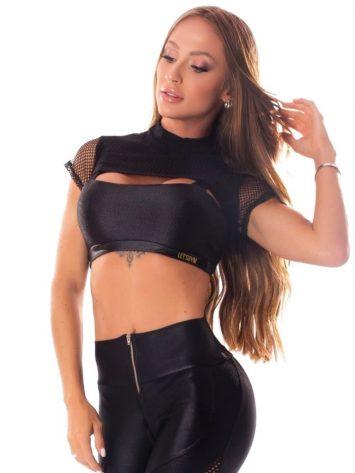 Lets Gym Fitness Cropped E Top Audacious Women Sports Bra – Black