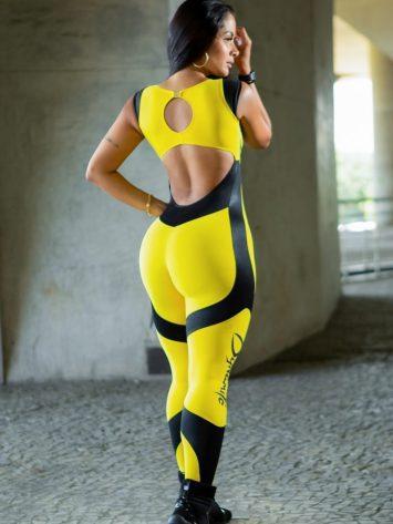 Dynamite Brazil Jumpsuit – Fuschia – Yellow/Black Animal Print