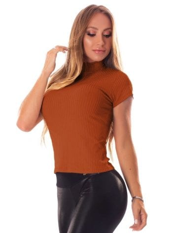 Let's Gym Blusa Canelada Fluid Ribbed Top – Clay