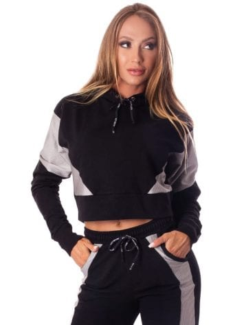 Let's Gym Cropped Fashion Sport Hoodie Top – Black