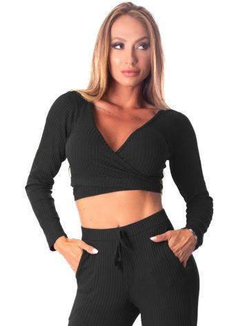 Let's Gym Fitness Cropped Bolero Canelado Fluid – black