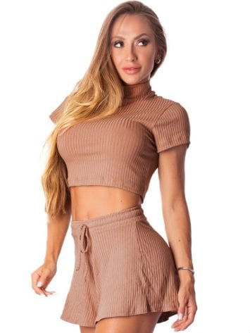 Let's Gym Fitness Cropped Canelado Fluid – Nude