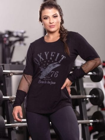 OXYFIT Activewear Blouse Free Long Sleeve – Black