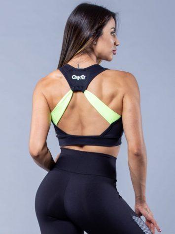 Oxyfit Activewear Sports Bra Top Flat – Black/White/Lime