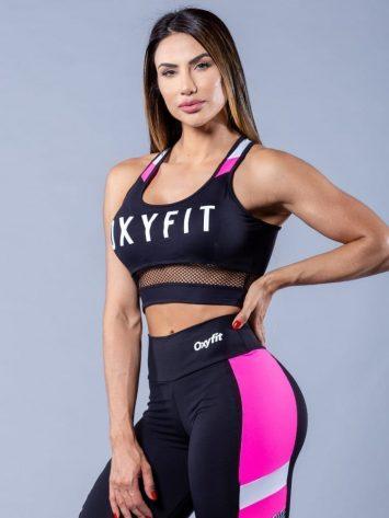 Oxyfit Activewear Sports Bra Top Fly – Black/White/Pink