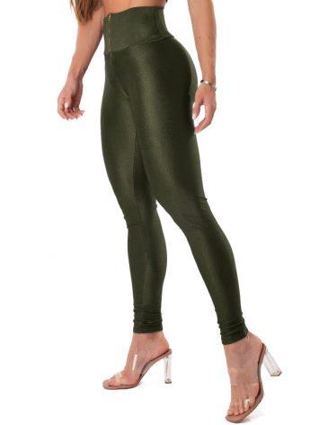 Let's Gym Fitness Tech Glam Leggings – Military Green