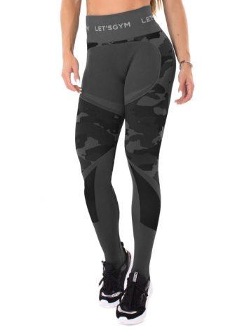 Let's Gym Fitness Seamless Camo Love Leggings – Black