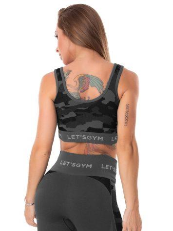 Lets Gym Fitness Seamless Camo Love Sports Bra Top – Black