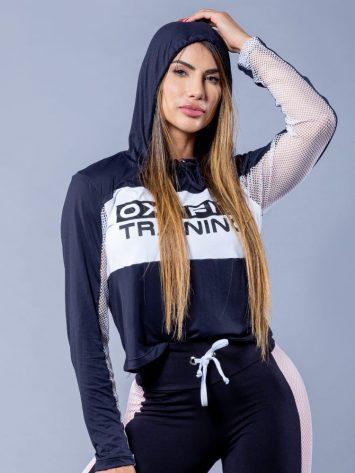 OXYFIT Activewear Glam – Long Sleeve Hoody Sports Jacket – Black/White
