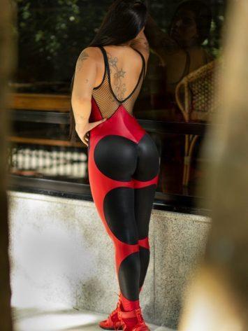 DYNAMITE Jumpsuit Apple Booty Carmine – Black w/Red