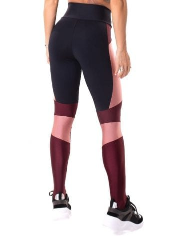 Let's Gym Fitness Magical Leggings - Black/Burgandy