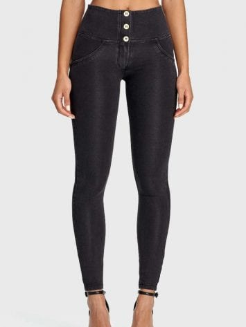 Freddy WR.UP® Denim – 3 Button Full Length – High waist – St. Black – (Black)