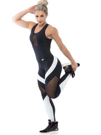 Trincks Fitness Activewear Body Fit Jumpsuit – Black/White