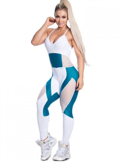 Trincks Fitness Activewear Fit Train Jumpsuit - Blue/White